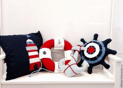 Детская ручной работы. Ярмарка Мастеров - ручная работа. Купить Текстиль для комнаты в морском стиле. Handmade. Разноцветный, якорь