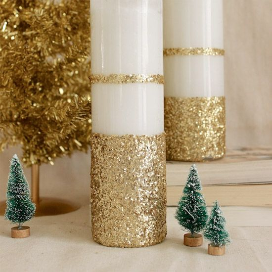 If you're itching to DIY this holiday, break out the bucket of glitter, & let's get to work personalizing a set of Dollar Store candles.