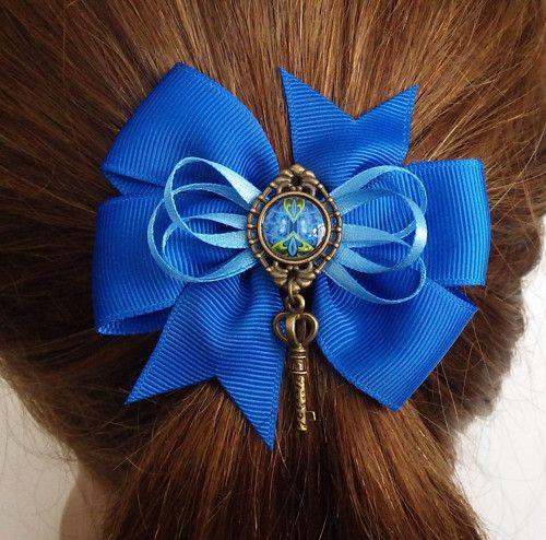 Mašle do vlasů - modrá s klíčkem