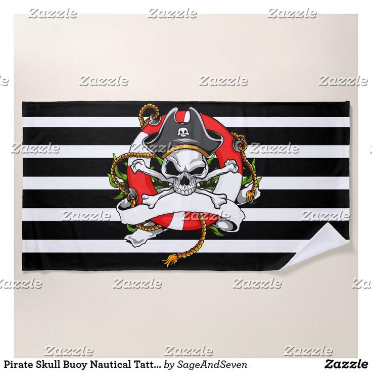 Pirate Skull Buoy Nautical Tattoo Beach Towel #pirateskull #tattoo #nautical #pirate #beachtowel