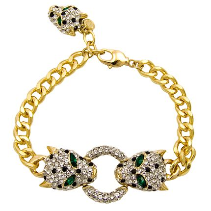Add some glamour to your outfit with the fabulous Butler  Wilson Crystal Leopard Heads Bracelet.  Featuring Swarovski crystal,it fastens with a lobster clasp.