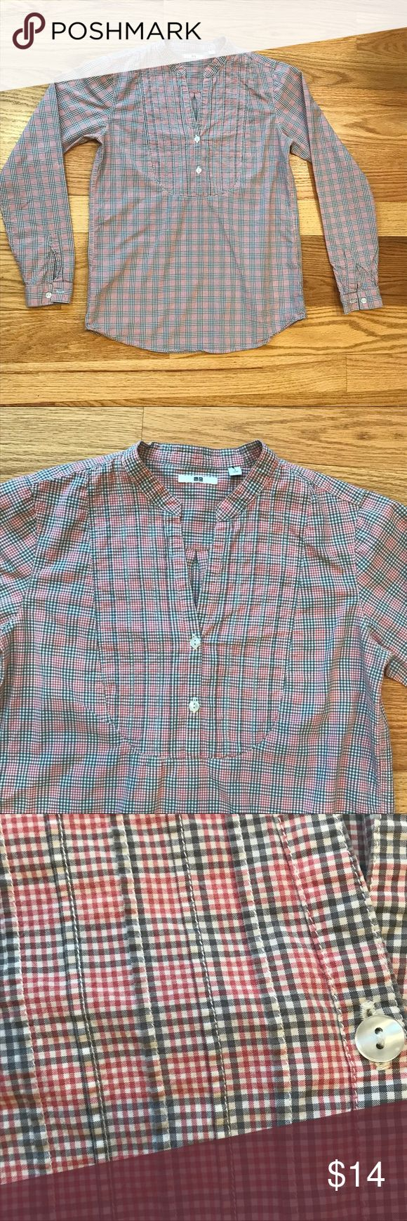 "Uniqlo Pink and Gray Plaid Popover Uniqlo plaid button front popover in pink and gray. Pleat front placket. Long sleeves. Band collar. Excellent condition. 100% cotton. Length 24"", armpit to armpit width 18"". Comment with any questions or make an offer. Bundle for discount. Uniqlo Tops Blouses"