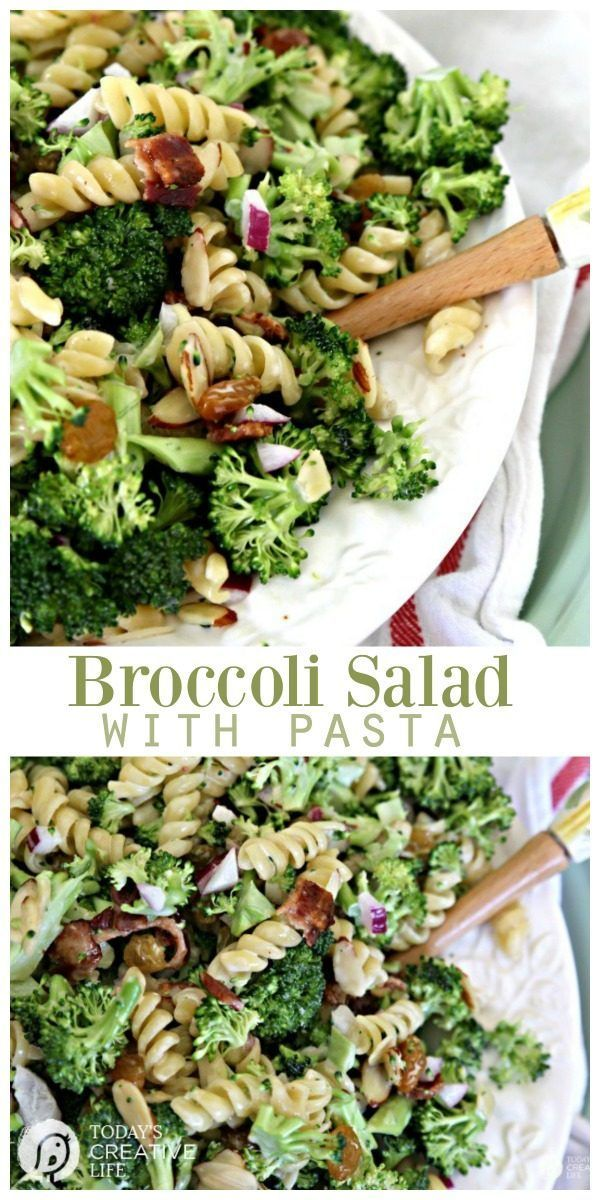 Broccoli Salad with Pasta   This fresh salad is great for spring and summer as a side or main dish. See the recipe on TodaysCreativeLife.com