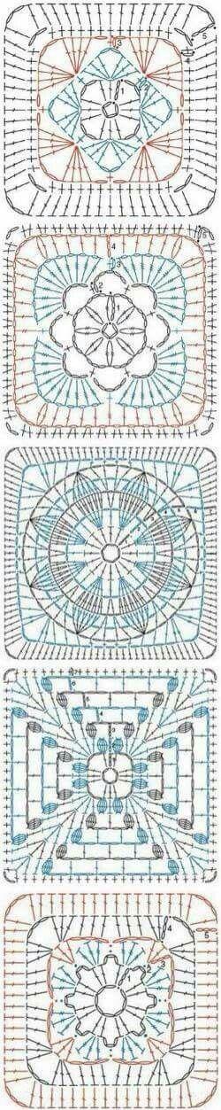 Mas patrones Flower square crochet patterns