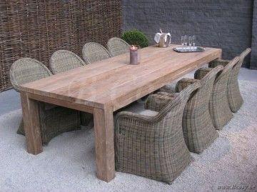 Gescova Deauville Primitive Table de repas jardin Rectangulaire Vieux teck récyclé Massive naturel 300