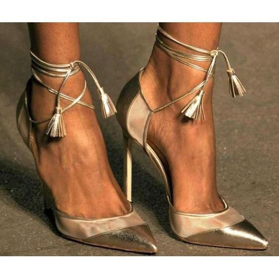 Shinning Ankle Wrap Straps Tassels Pointed Toe Stiletto High Heels #manoloblahnikshoes