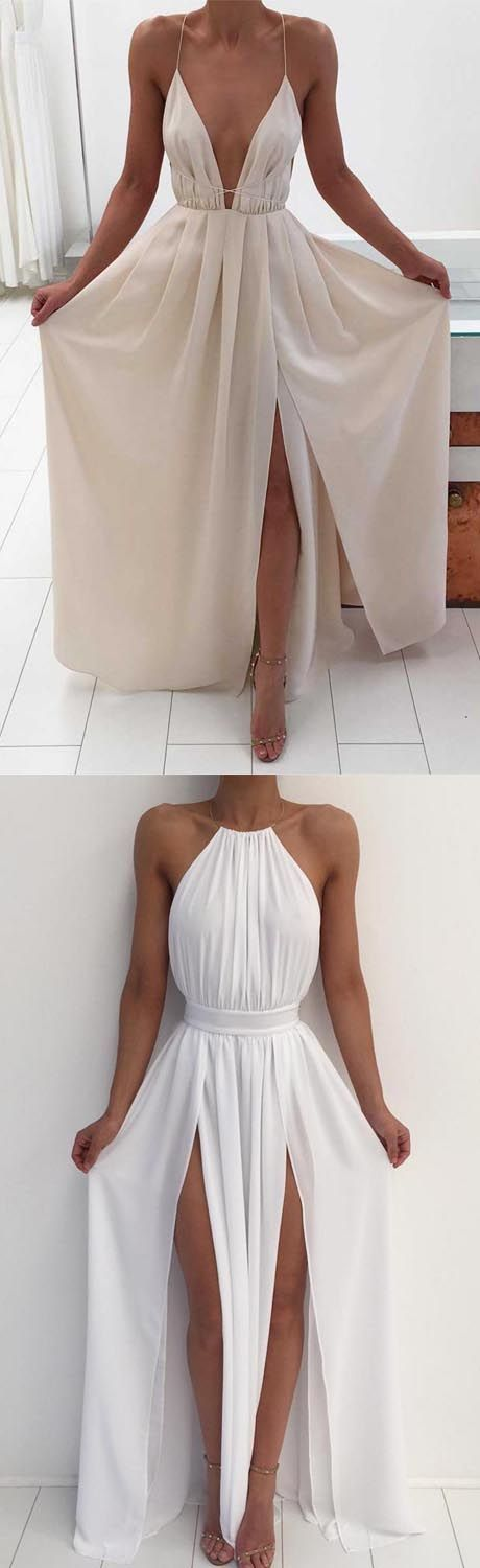 Sexy A-Line Deep V-Neck Backless Long prom/Evening Dress for Teens prom,prom dress,prom dresses,prom gown,prom gowns,sexy prom dress #dressesforteens