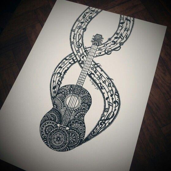 Since I play guitar, I think I should doodle a guitar too.. ^^