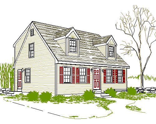 Cad smith plans for full rear dormer cape home for Cape cod house plans