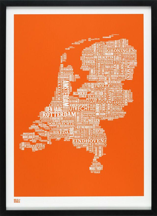 Netherlands Type Map in Pumpkin Orange | A Bold & Noble screen print