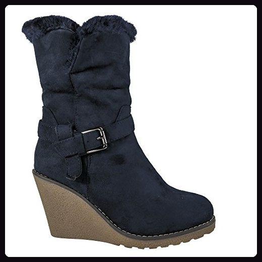 Damen Stiefel Keilabsatz Stiefeletten gefüttert Wedge High Heels Boots ST374 (39, Blau) - Stiefel für frauen (*Partner-Link)