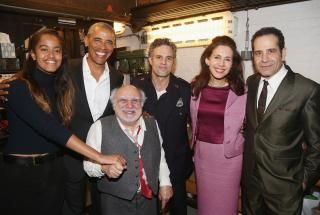 A happily retired President Obama met up with his daughter Malia to catch a star-studded during his trip to New York City. The former president was joined by Danny DeVito, Mark Ruffalo, Jessica Hecht and Tony Shalhoub on Feb. 24, 2017.
