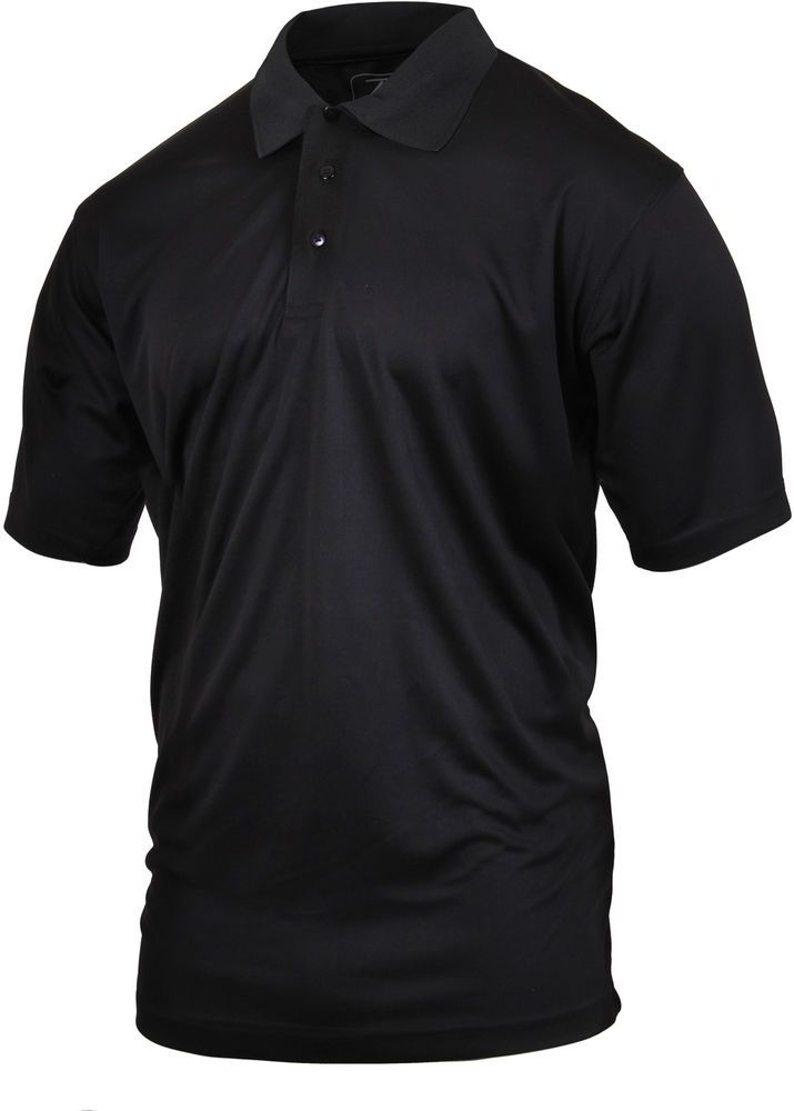Black Tactical Polo Shirt Moisture Wicking Quick Dry Golf Uniform Top   Rothco 4036fea5d06