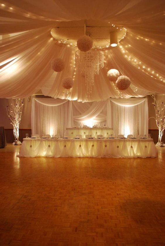 694 best receptions draping images on pinterest for Wedding banquet hall decoration ideas