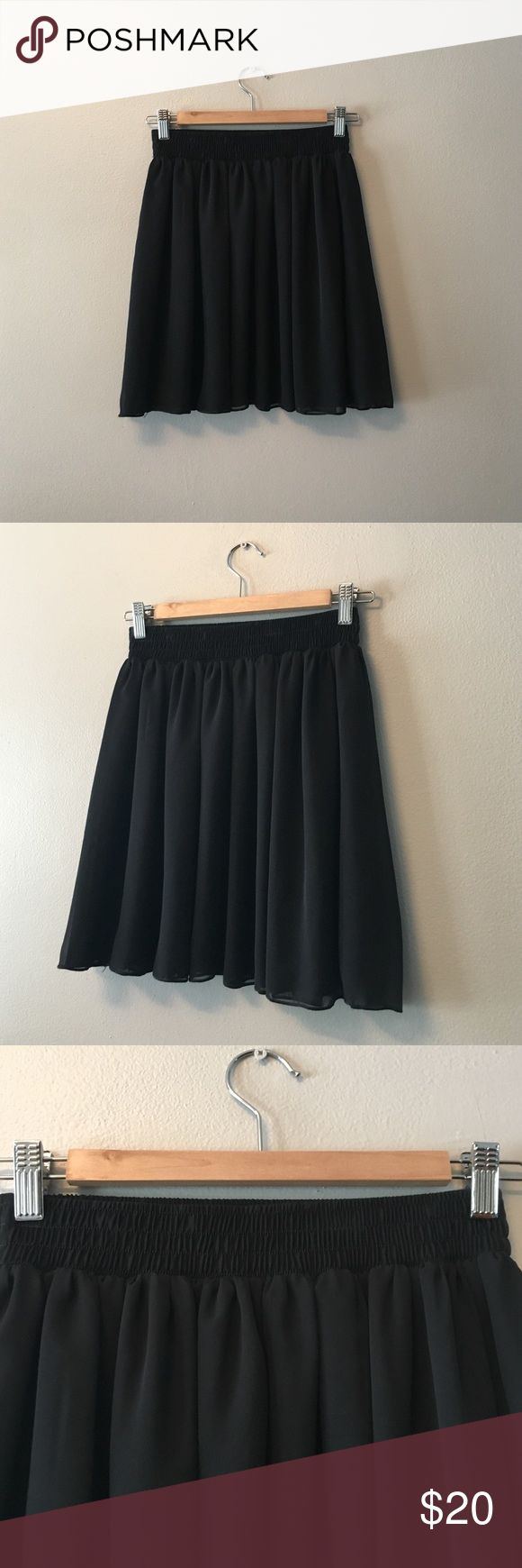 American Apparel skirt M/L Black shear chiffon American Apparel skirt size M/L. Runs more close to a true medium. Two layers of soft chiffon. Slightly shear in the light and would be cute layered with think tights or leggings. Worn only twice. Just like new. American Apparel Skirts Mini