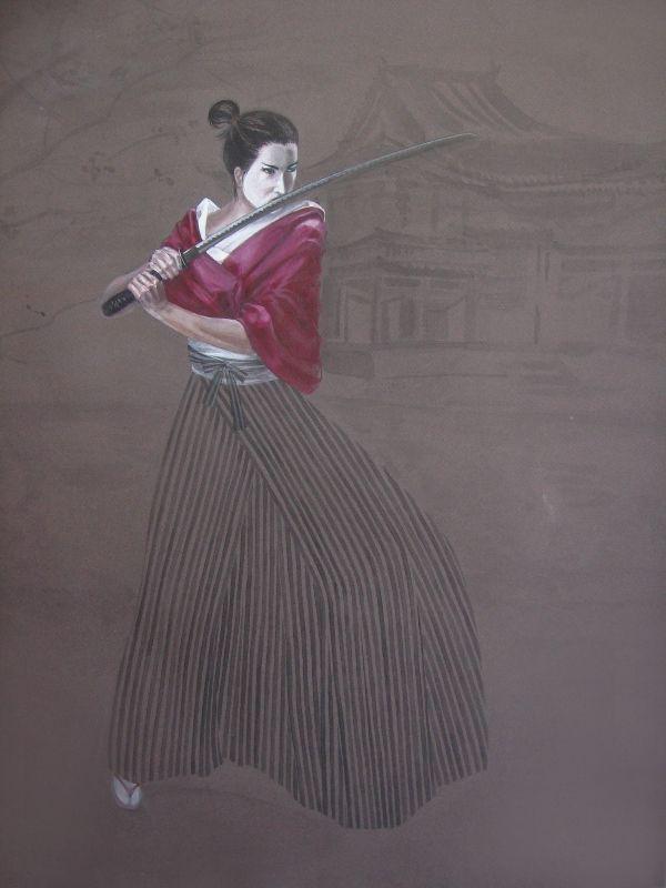 SAMURAI SHE 2011 watercolour and temper on paper, 50x70 cm