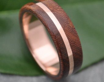 Rose Gold and Silver Un Lado Asi Wood Ring by naturalezanica