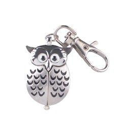 Flip-Out Owl Design Stainless Steel Quartz Pocket Watch Keychain (Silver)