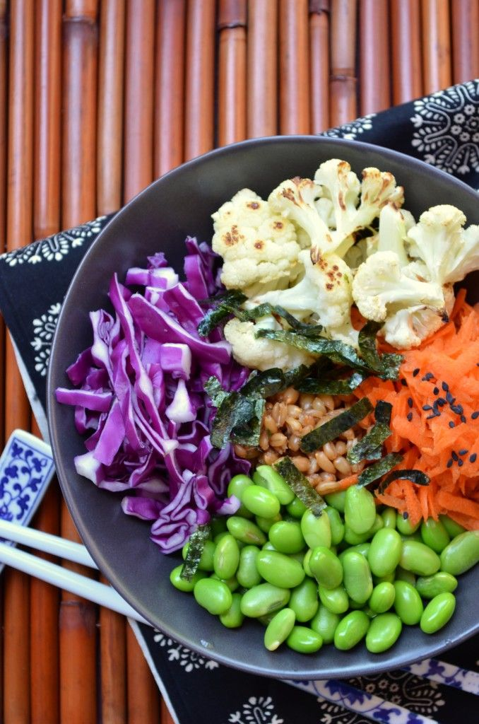 Spelt Berry Sushi BowlJapanese Food, Sushi Bowls, Food Hierond, Carrots Salad, Spelt Berries, Geen Receptions, Food Recipe, Roasted Cauliflowers, Berries Sushi