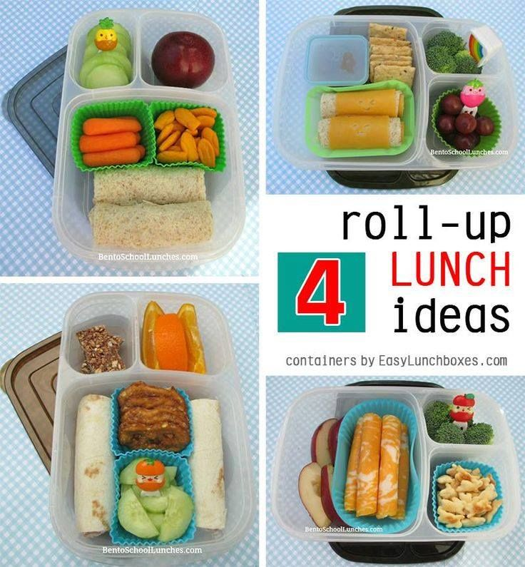 4 Roll-Ups Lunches in #Easylunchboxes containers