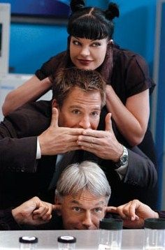 "Forensic Specialist Abigail ""Abby"" Sciuto (Pauley Perrette), Special Agent and Senior Field Agent Anthony ""Tony"" DiNozzo (Michael Weatherly), and Supervisory Special Agent Leroy Jethro Gibbs (Mark Harmon) of CBS-TV's ""NCIS"" { ...you're welcome, honey ;-) }."