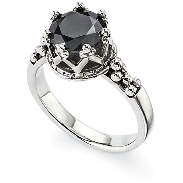 Sterling Onyx Crown Ring ($100) ❤ liked on Polyvore featuring jewelry, rings, goth jewelry, gothic jewelry, bohemian rings, bohemian jewellery and steampunk ring #OnyxRings