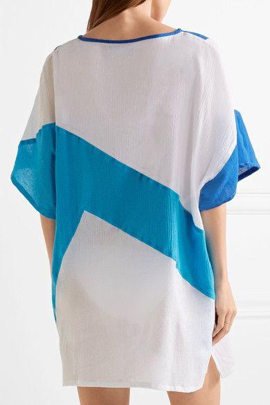 Koza - K Paneled Cotton-gauze Kaftan - Azure - x small