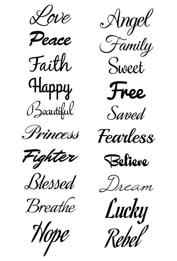 Script Font Temporary Tattoos Express yourself and let the world know what you are about. 20 beautiful black script font tattoos. 1 small, medium, and large tattoo per sheet Series of 20 Tattoo design
