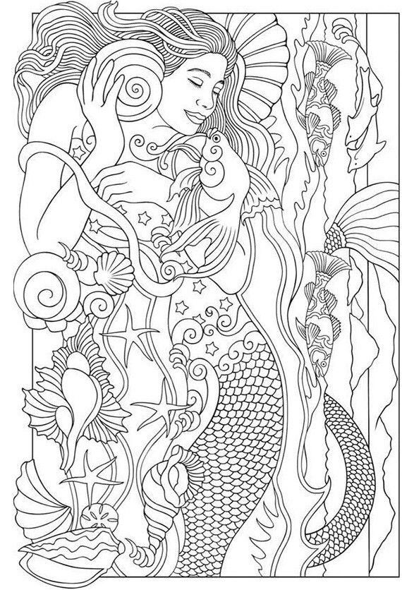 Beautiful mermaid Barbie coloring pages - YouLoveIt.com | 836x570