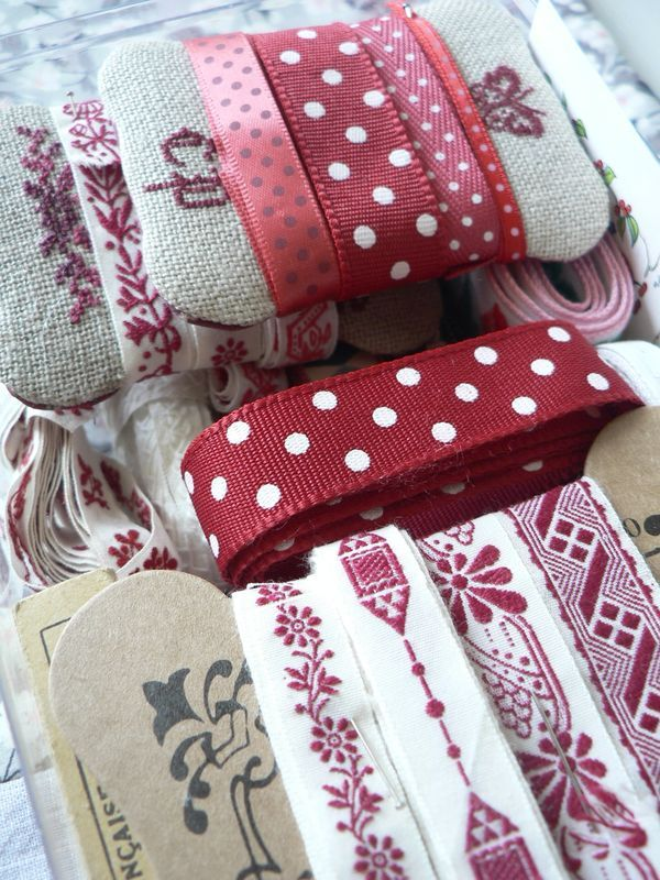 in red~lovely ribbons~polka dots