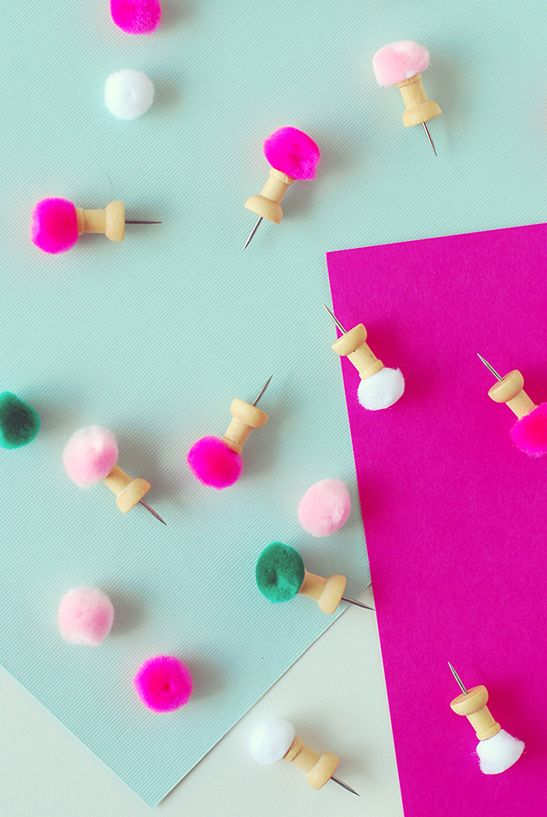 DIY Pom Pom Push Pins for organizing your cork board.