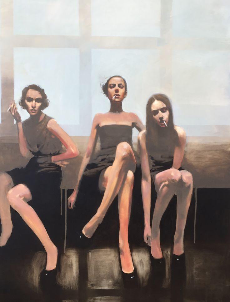 "Michael Carson, ""Smokin"", 48"" x 36, Oil on Panel Bonner David Galleries"