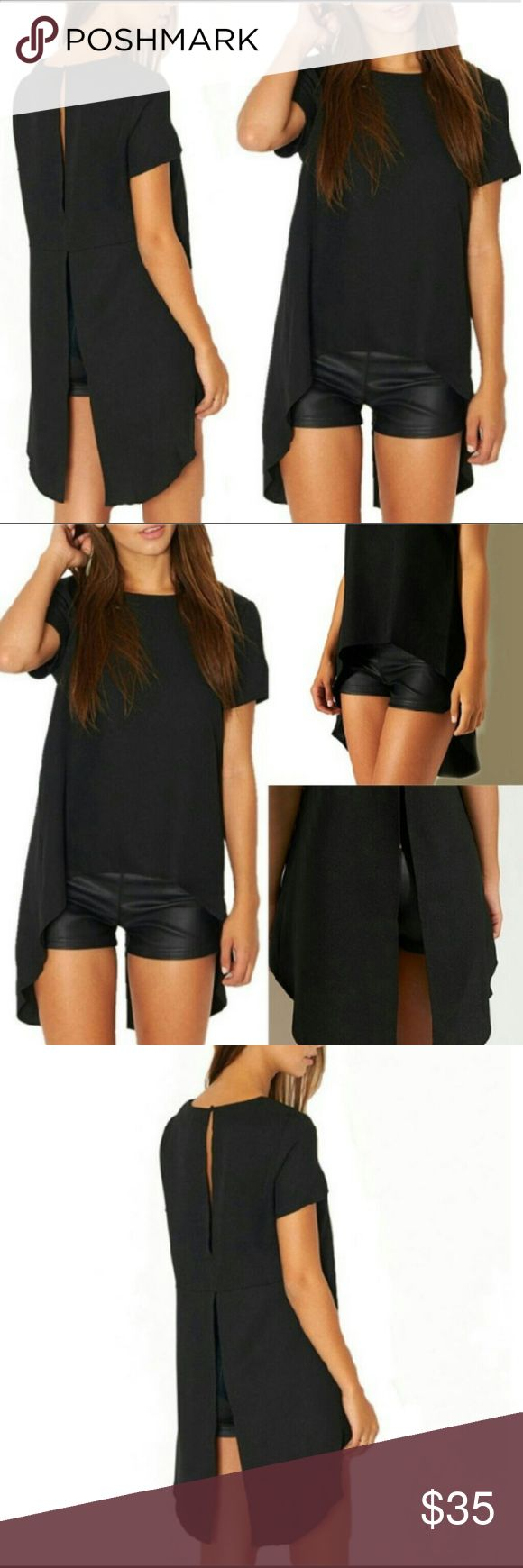 Solid Black Irregular High-Low Back split Tee Black T-shirt High -Low Irregualr Hem Open split back. New in package. Boutique  Tops