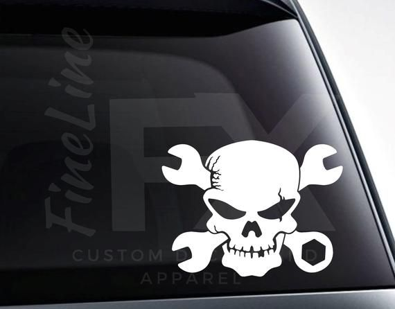 Mechanic Skull With Crossed Wrenches Vinyl Decal Sticker Car Decal Car Sticker Toolbox Decal And More In 2020 Vinyl Decal Stickers Vinyl Decals Car Stickers