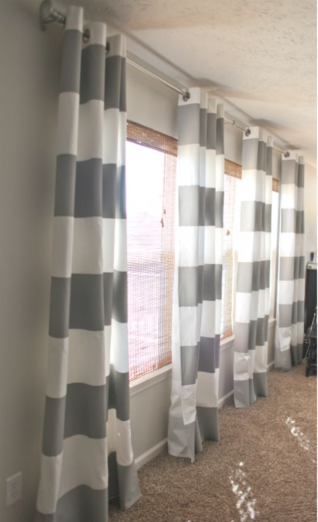 19 DIY Window Treatments to Update Your Space: Paint-Striped Gray Curtains
