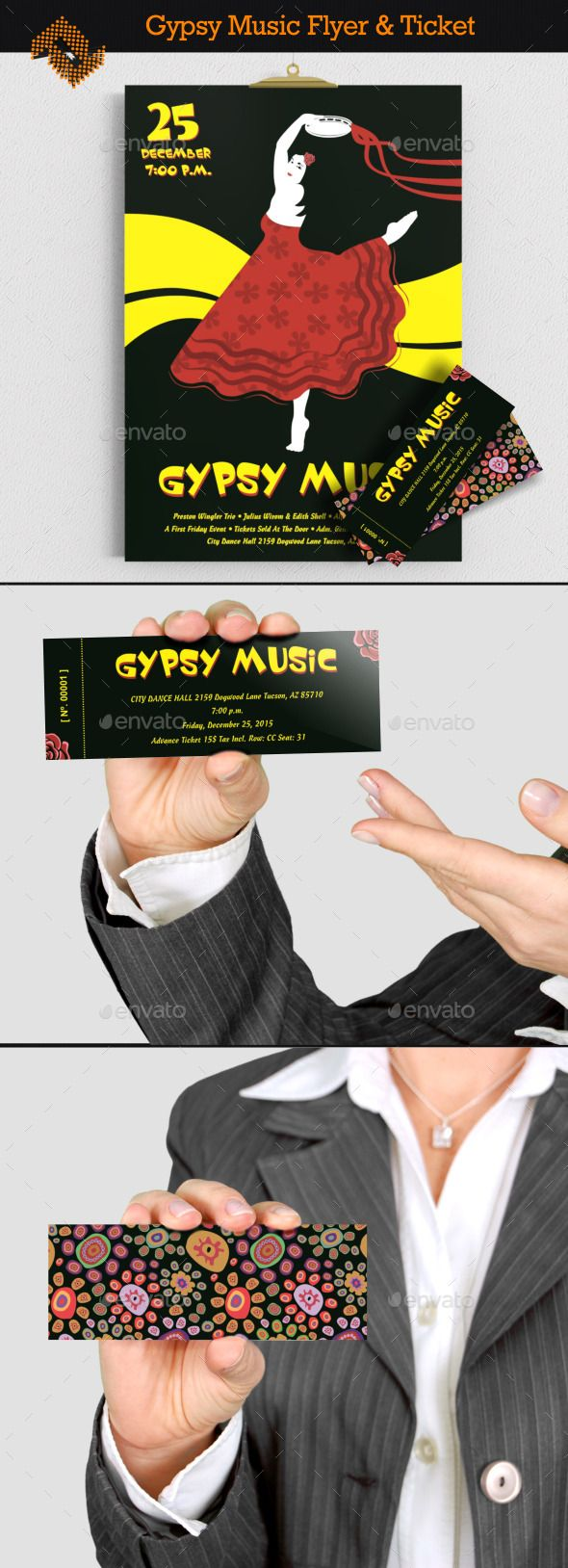 Gypsy Music Concert Flyer & Ticket