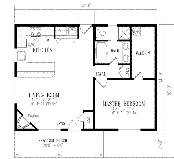 Mediterranean Style House Plan - 1 Beds 1 Baths 768 Sq/Ft Plan #1-111 Floor Plan - Main Floor Plan - Houseplans.com- switch the washroom order, no peninsula in kitchen