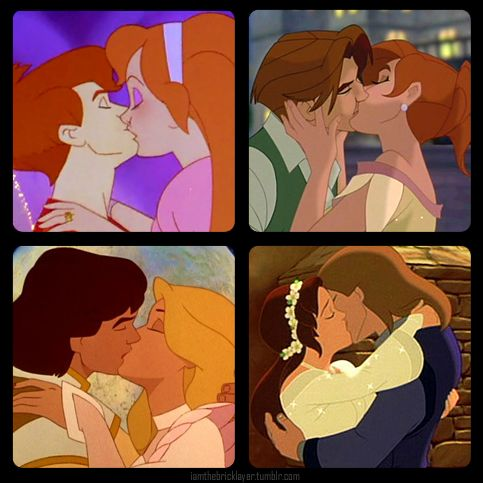 Best non-Disney animated kisses - Cornelius & Thumbelina (Thumbelina)- Dimitri & Anastasia (Anastasia)- Derek & Odette (The Swan Princess)- Kayley & Garrett (Quest for Camelot)