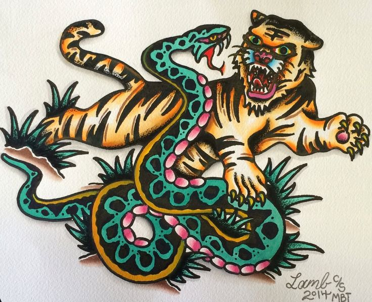 tiger vs snake by josh lamb agle vs nake vs ca pinterest traditional tattoo flash. Black Bedroom Furniture Sets. Home Design Ideas