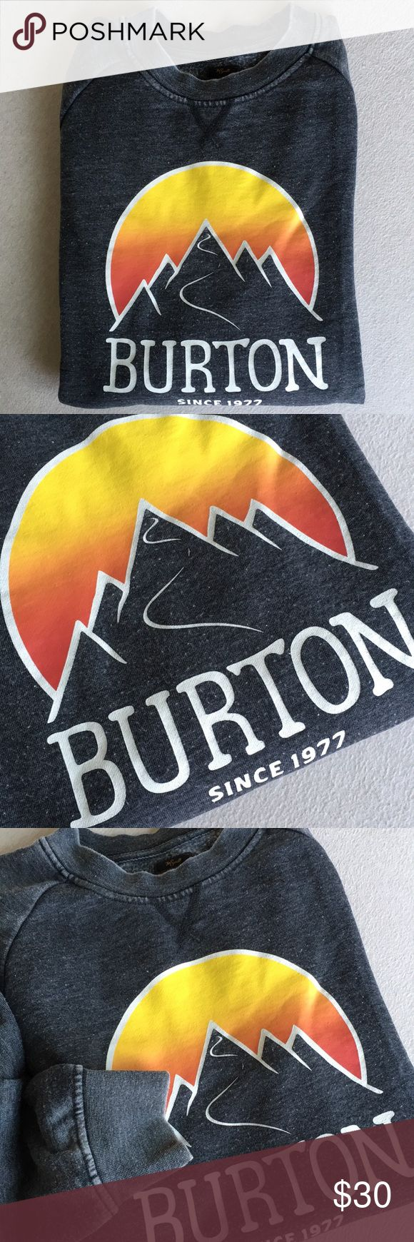 Men's Gray Burton Snowboards Crewneck Sweatshirt Great condition. Men's Burton Snowboards dark heather gray crewneck sweatshirt. Extremely comfortable made to look like a lightly distressed crew from long ago. Mountain screenprinted graphic on the front. Some light pilling throughout adds to the vintage look. Classic fit with a great raglan cut. Size Small. Burton Shirts Sweatshirts & Hoodies