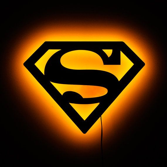 Superman Logo Lamp Lighted Superman Sign And Wall By LuxChroma, $60.00