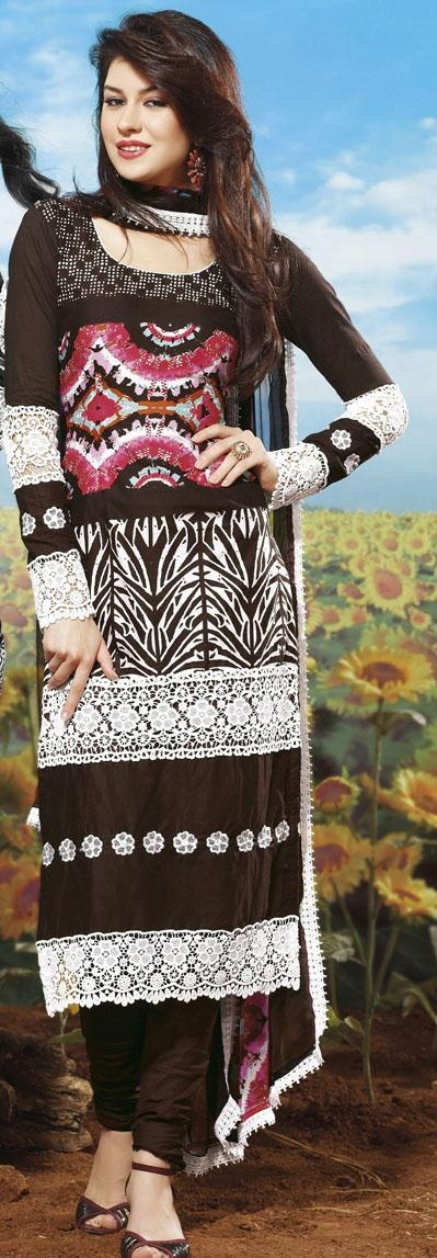$70 Brown and Pink Embroidered Pakistani Salwar Kameez 24337