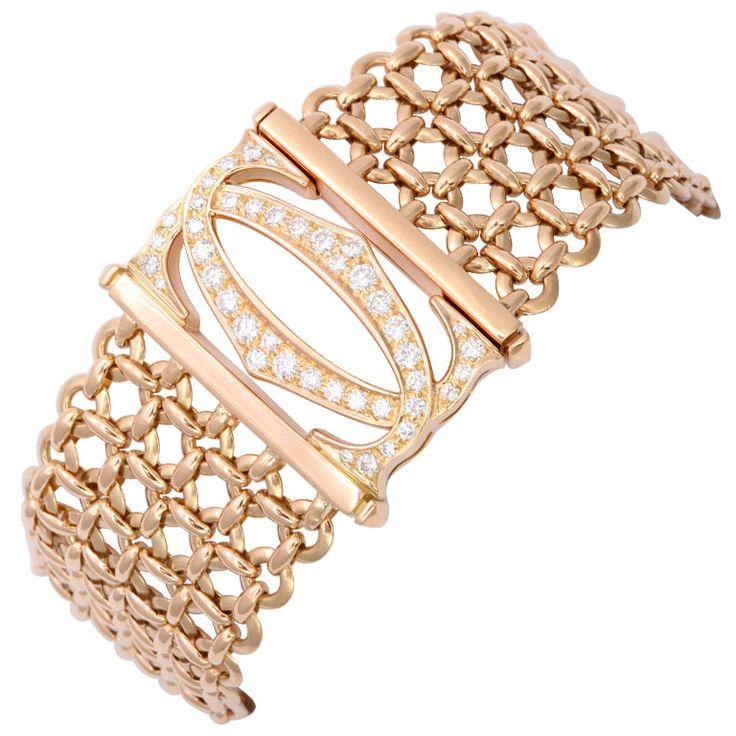 CARTIER Gold and Diamond Mesh Bracelet at 1stdibs
