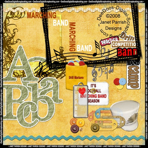 The digital scrapbooking marching band kit is packed with digital papers and digital elements so you can scrapbook all your musical memories