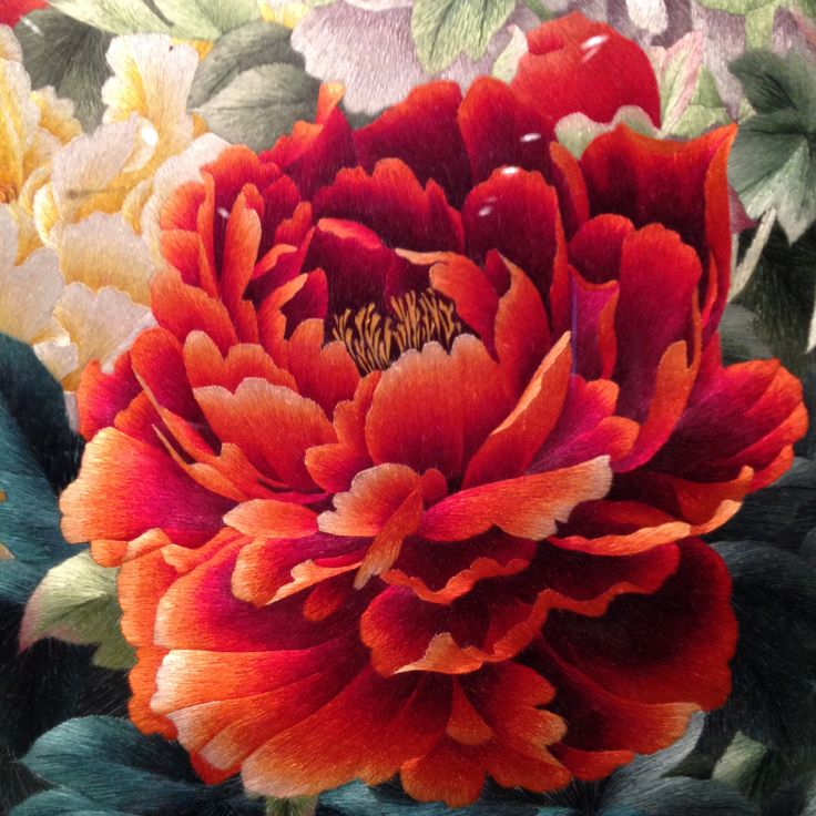 Chinese embroidery textiles flower