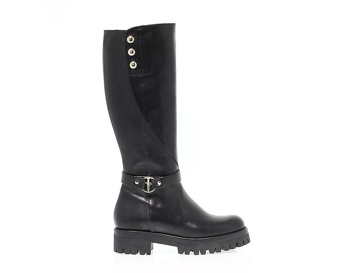 BOOTS CESARE PACIOTTI 4US KD3 230 Boots in leather, colour black with  buckle with button