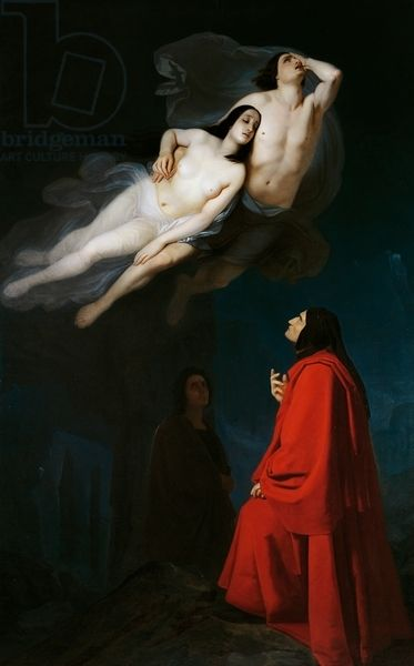 Paolo and Francesca in conversation with Dante and Virgil, episode from Divine Comedy, by Dante Alighieri (1265-1321), 1846, by Giuseppe Frascheri (1809-1886), oil on canvas, Italy, 19th century