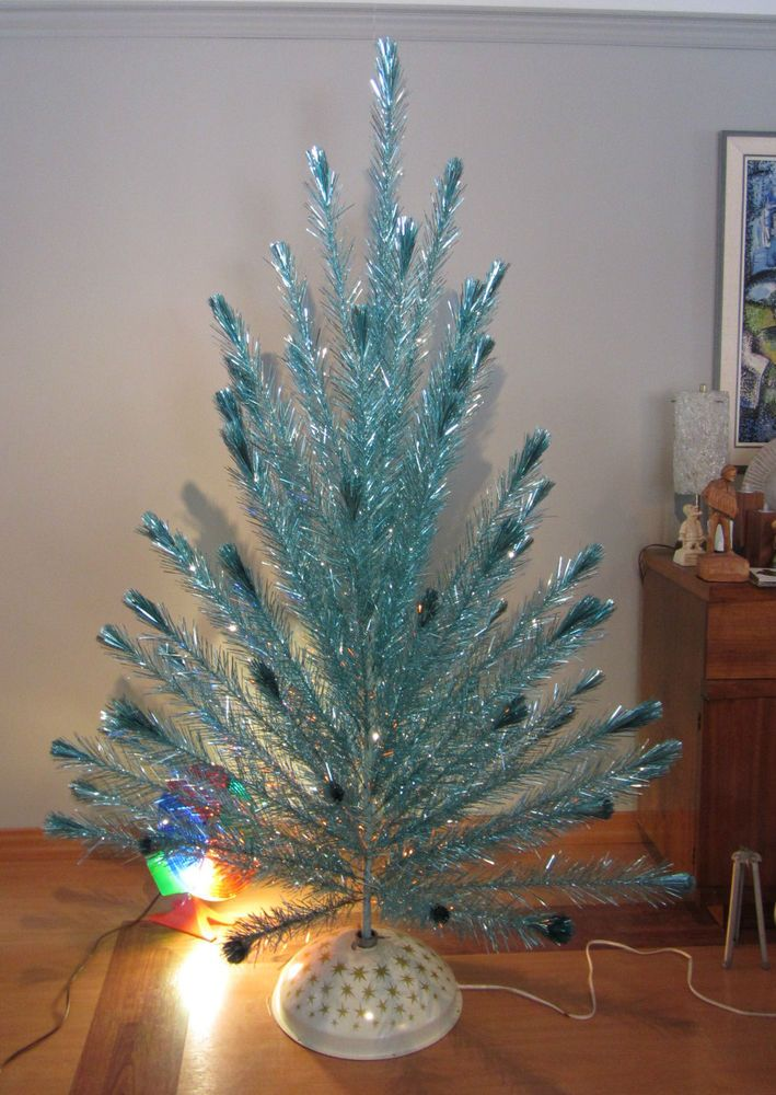 60s Christmas Tree Part - 30: Vintage Aluminum Tree 6u0027 RARE Icy Aqua Blue + Roto Wheel + Revolving Stand  60u0027s