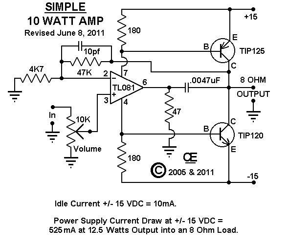 オペアンプを使ったパワーアンプ回路 Power Amplifier Using Opamp 電子工作実験室 2021 オーディオアンプ 電子回路図 回路