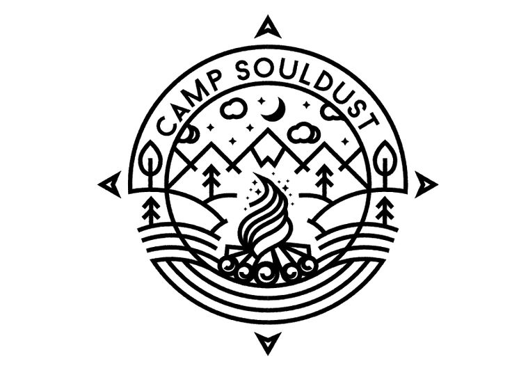 minimalistic scenery for camp souldust camp logot shirt graphic designbadge